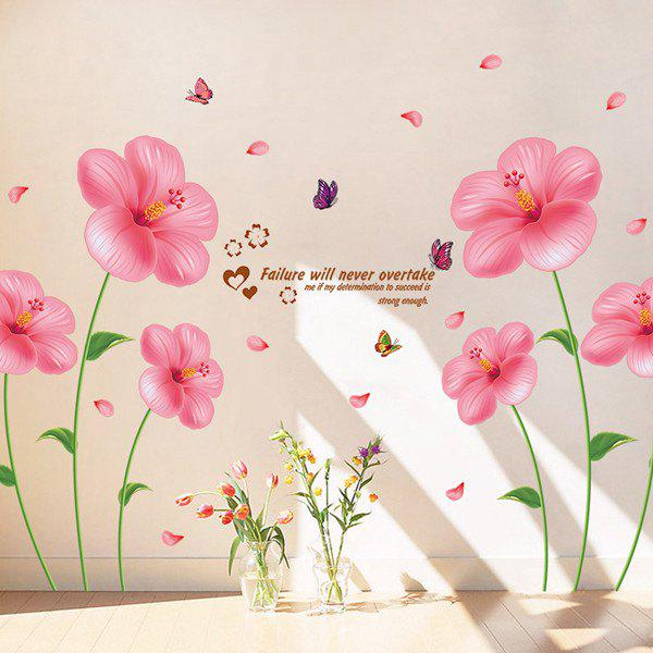 High Quality Removable Romantic Pink Flowers Wall Art Sticker high quality removable 3d through the wall dinosaur wall art sticker