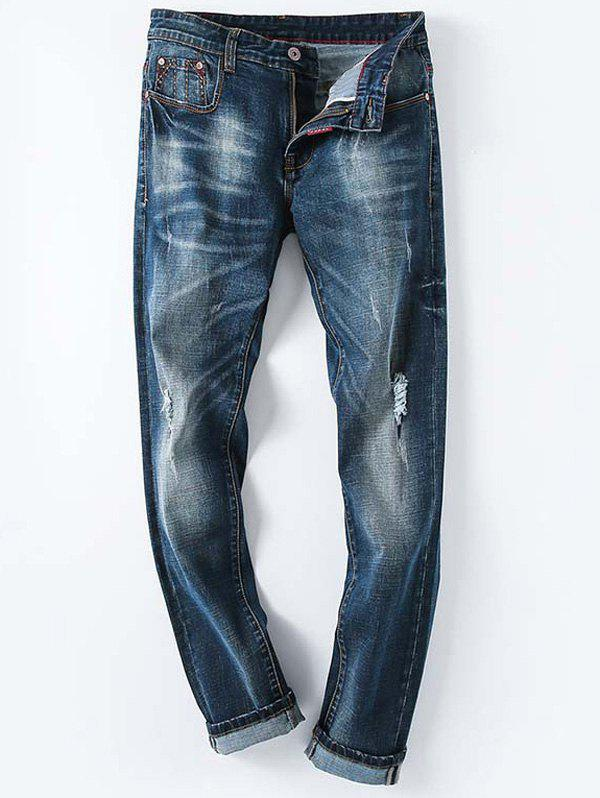 Hole and Cat's Whisker Embellished Men's Plus Size Striaght Leg Zipper Fly Jeans - DENIM BLUE 42