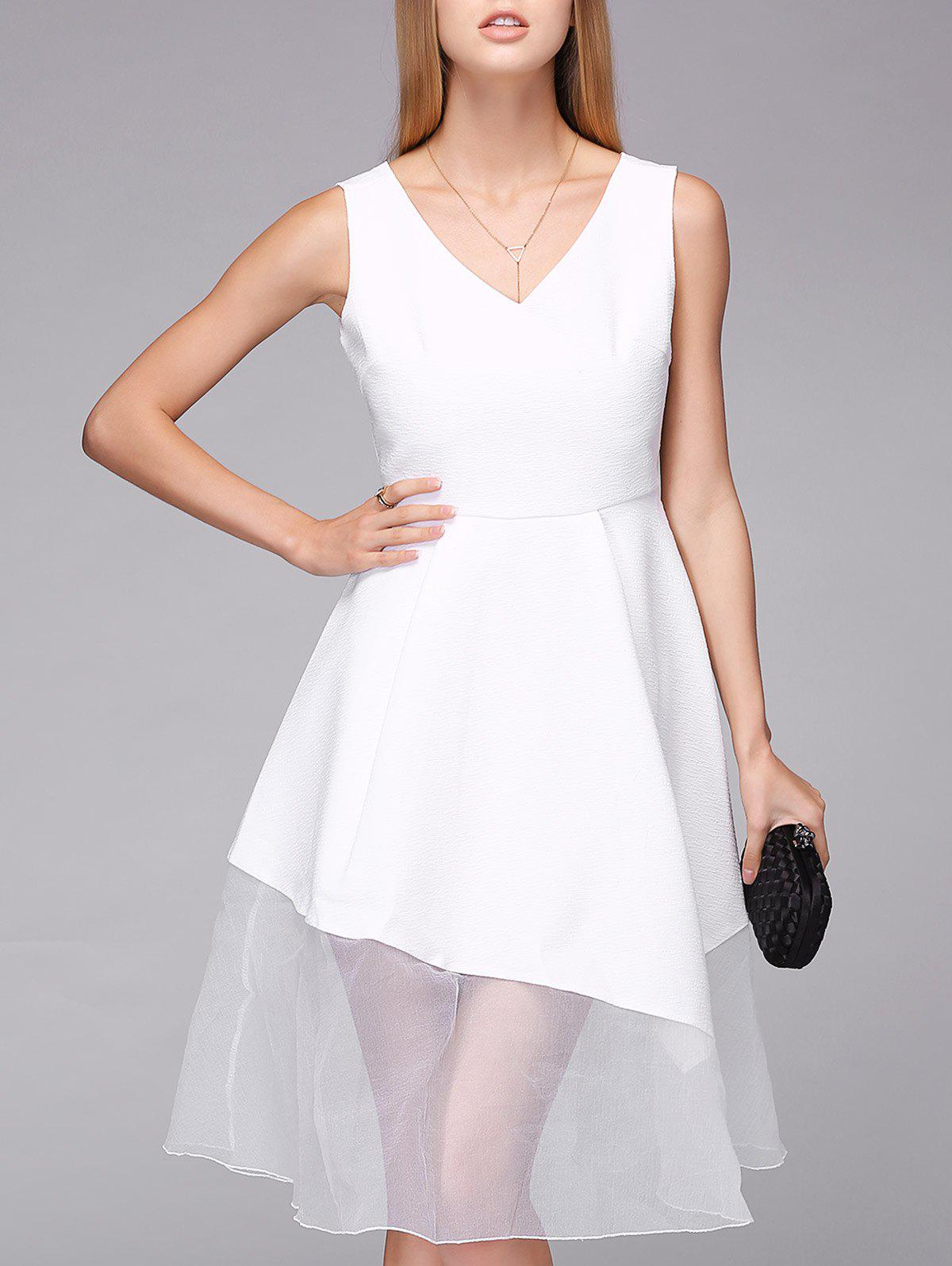 Elegant Women's White V-Neck Lace Splicing High Waist Dress