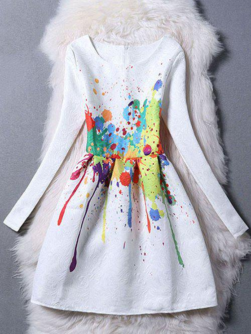 Long Sleeve Scrawl Painting Fit and  Flare Dress - WHITE XL