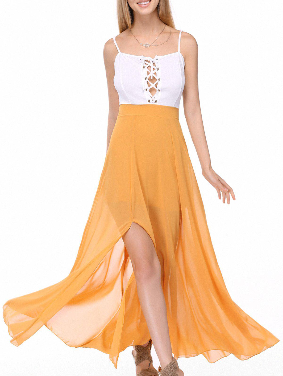 Alluring Spaghetti Straps Lace Up Slit Chiffon Dress For Women - WHITE/YELLOW XL