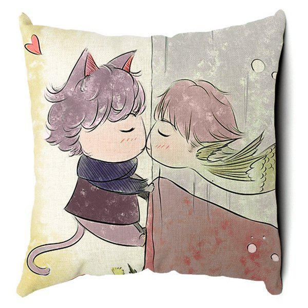 Stylish Cartoon Animal Pattern Square Pillow Case(Without Pillow Inner) - COLORMIX