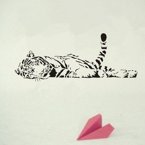 High Quality Removable Bedroom Tiger Decoration Wall Art Sticker - BLACK