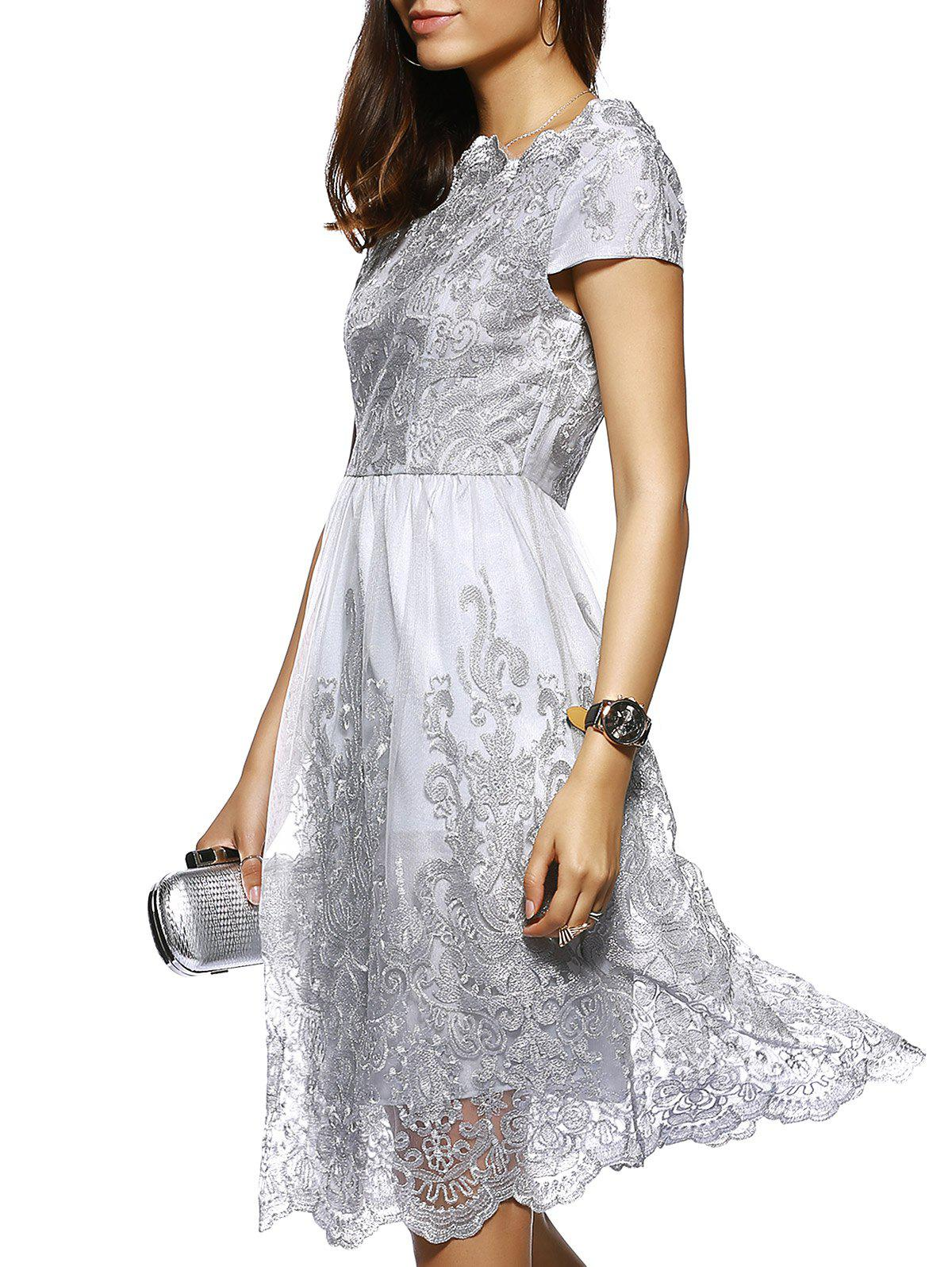 High Waist Laced Embroidery Dress - GRAY XL