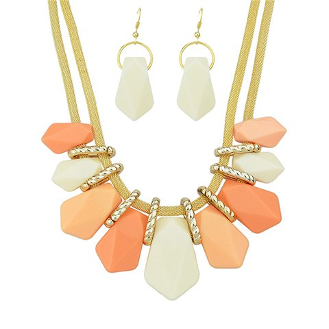 A Suit of Geometric Beads Necklace and Earrings - PINK