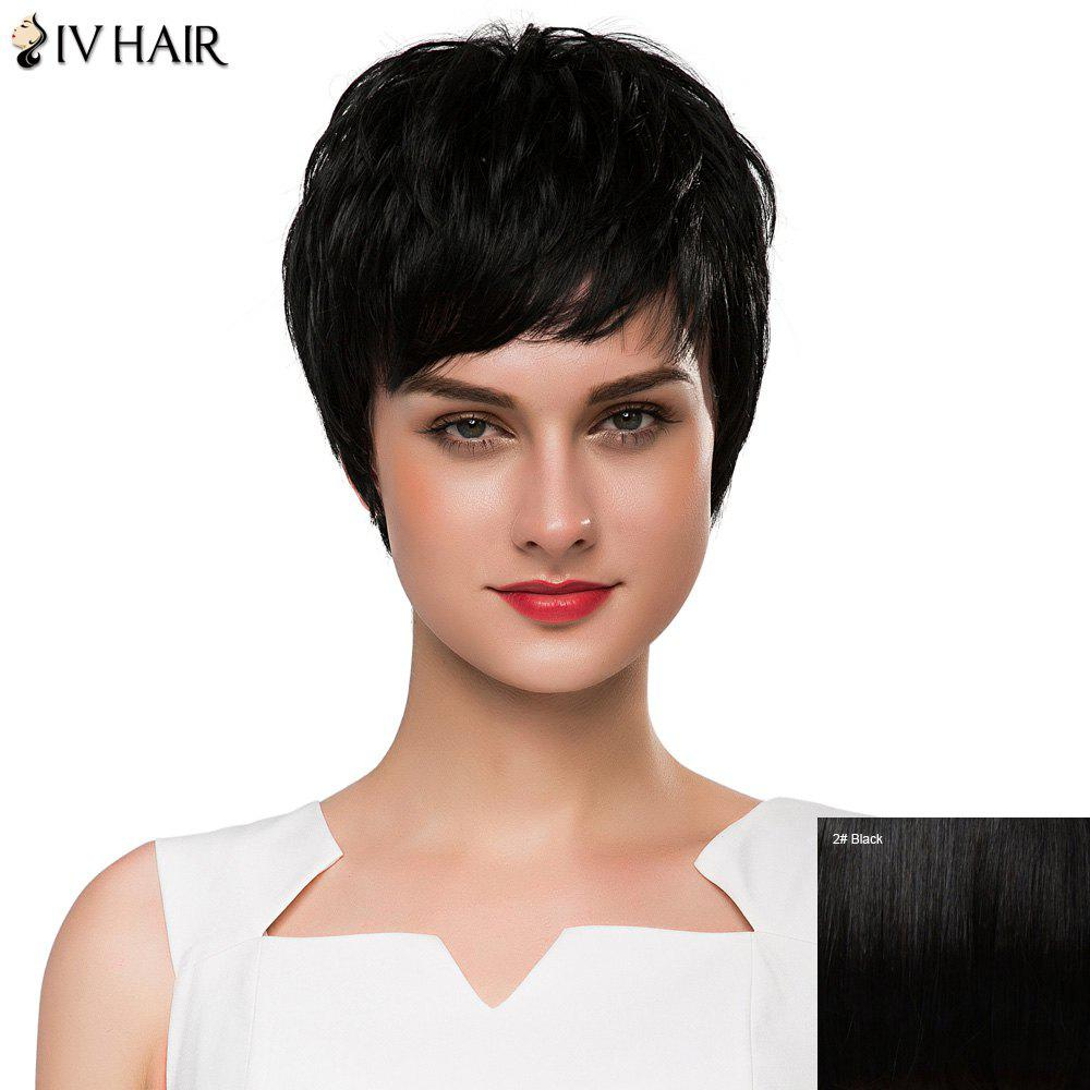 Spiffy Short Siv Hair Shaggy Wavy Capless Women's Human Hair Wig - BLACK