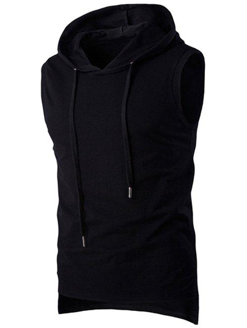 Stylish Hooded Solid Color Sleeveless Men's T-Shirt - BLACK M