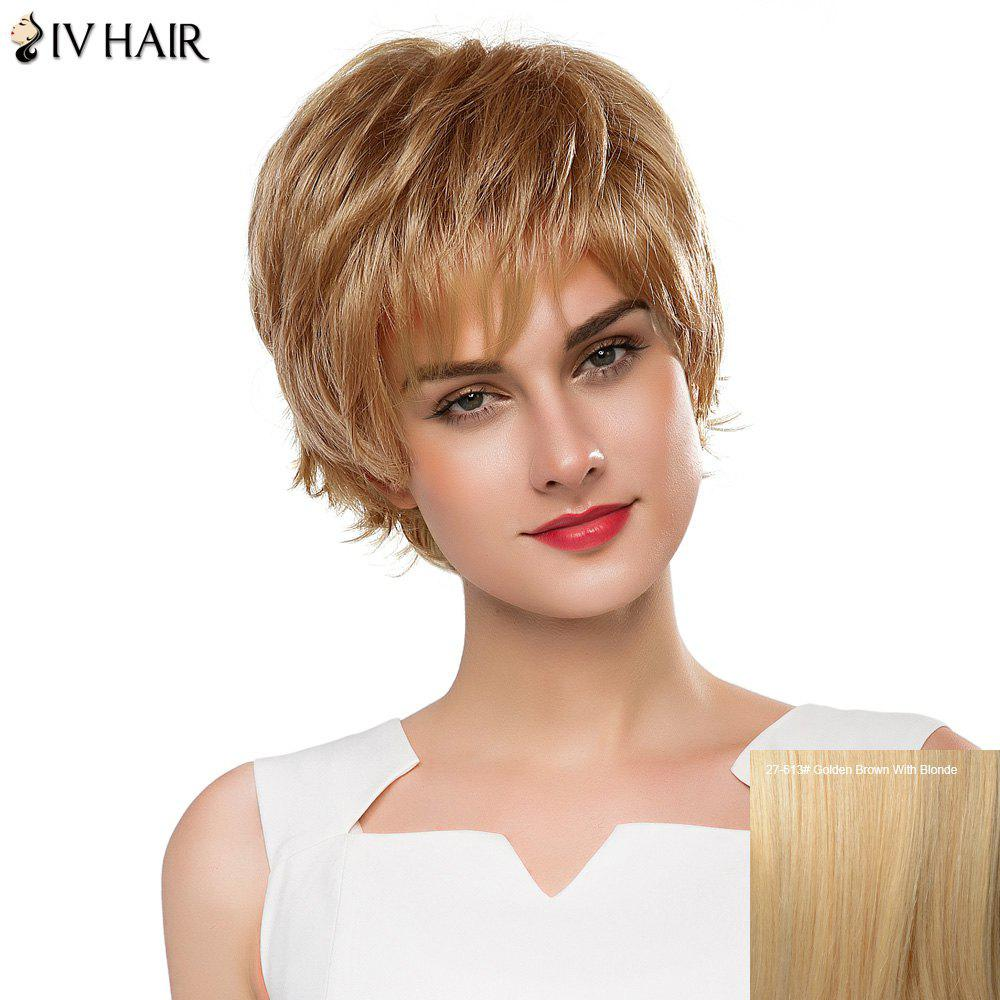 Vogue Short Real Human Hair Fluffy Straight Layered Siv Hair Capless Wig For Women - GOLDEN BROWN/BLONDE