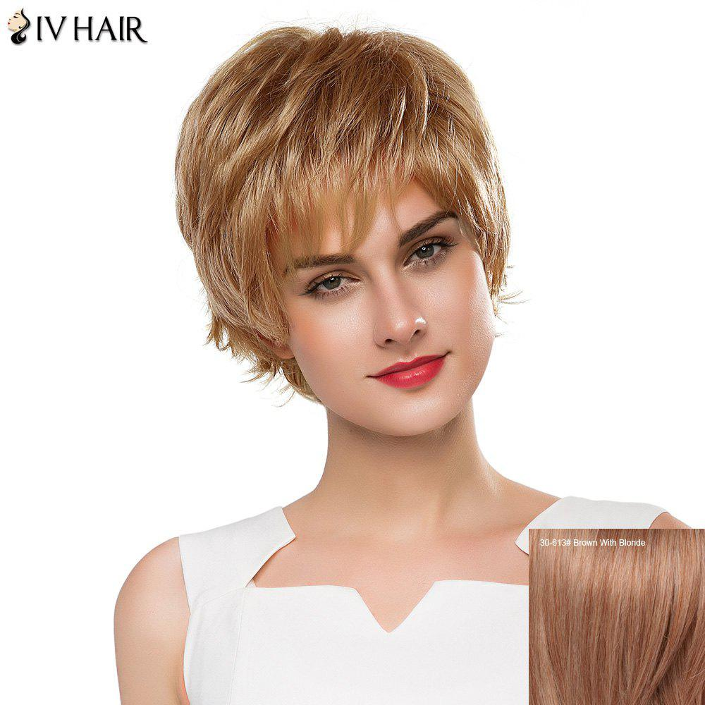 Vogue Short Real Human Hair Fluffy Straight Layered Siv Hair Capless Wig For Women fluffy straight synthetic siv hair vogue side bang short women s human hair wig