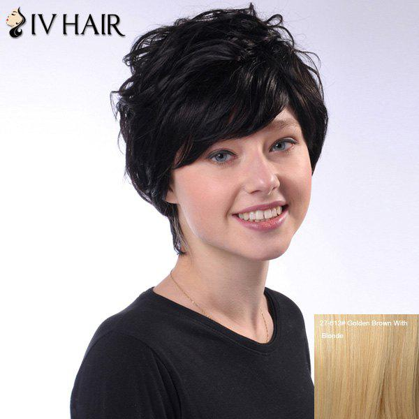 Ladylike Short Siv Hair Human Hair Fluffy Wave Capless Wig For Women