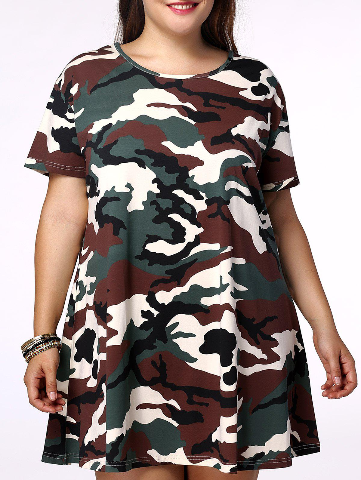 Fashionable Plus Size Scoop Neck Camo Printing Short Sleeves Dress For Women - CAMOUFLAGE 4XL