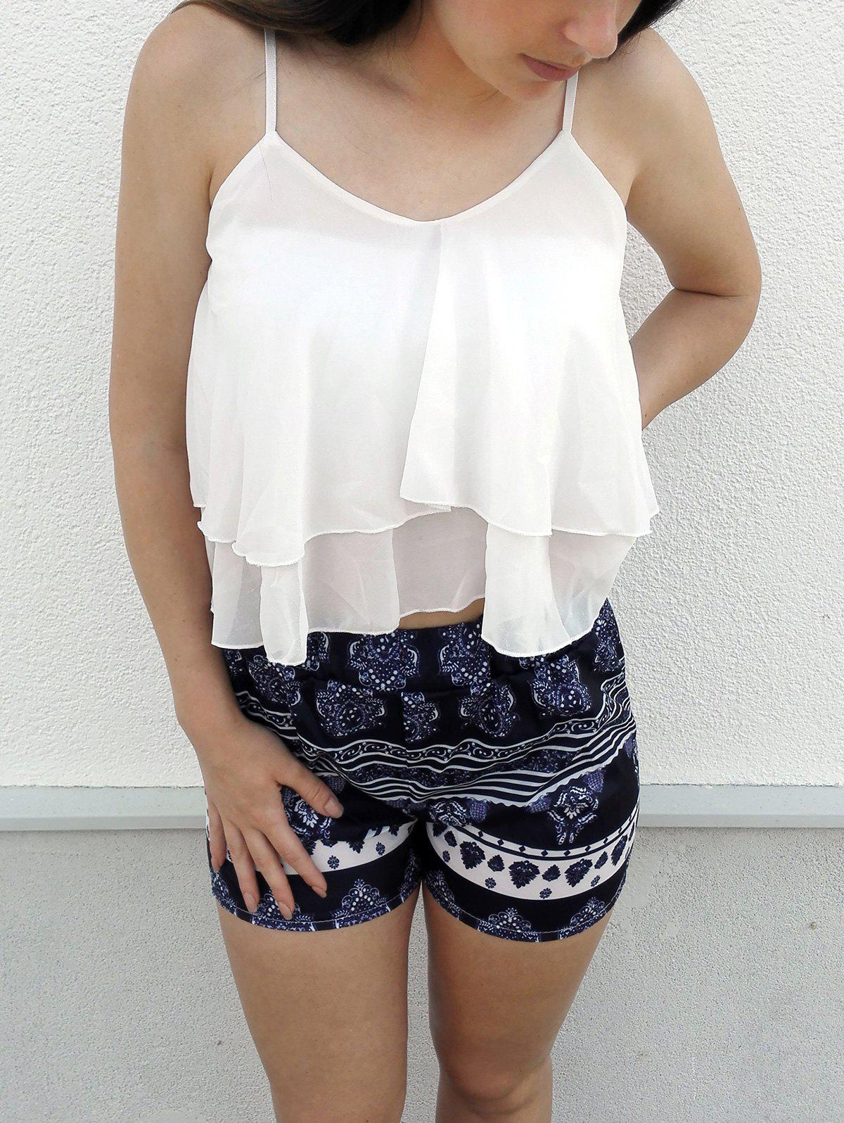 Trendy Women's  White Flounced Tank Top and Printed Shorts Twinset