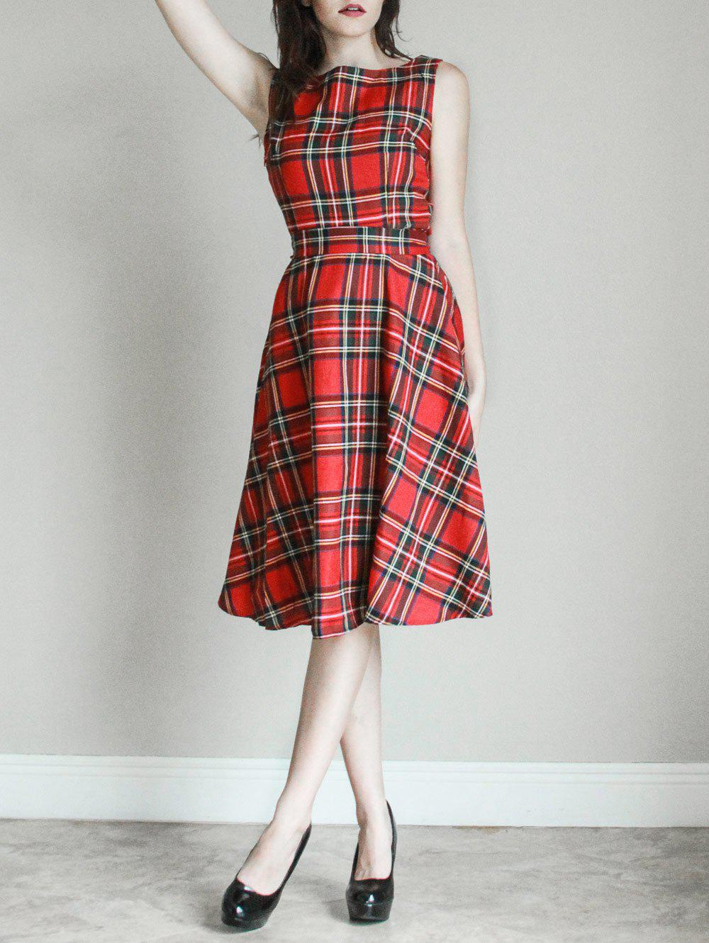 Vintage Women's Jewel Neck Sleeveless Plaid Belted A-Line Dress - RED M