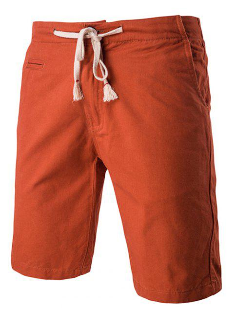 Shorts Solid Color Élégant Lace-Up Straight Leg Men  's - Marron 2XL