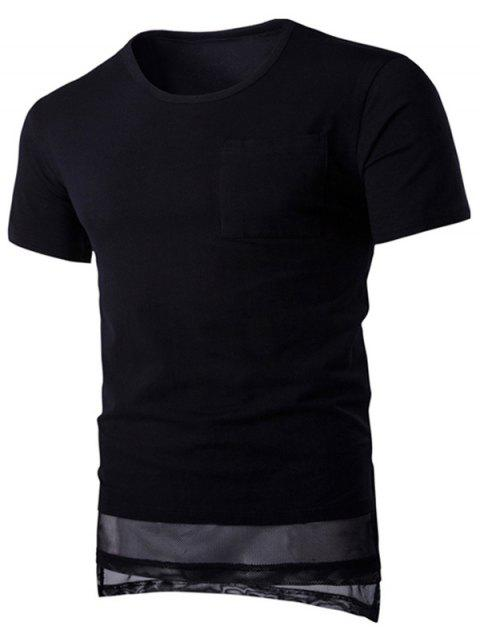 Mesh Splicing Design Round Neck Pocket Short Sleeve Men's T-Shirt - BLACK M
