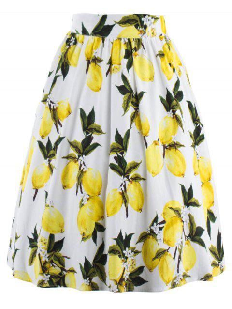A Line Lemon Pattern Pleated Skirt - WHITE L