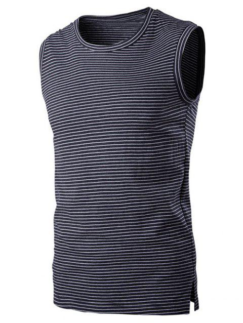 Striped Round Neck Men's Sleeveless T-Shirt - GRAY 2XL