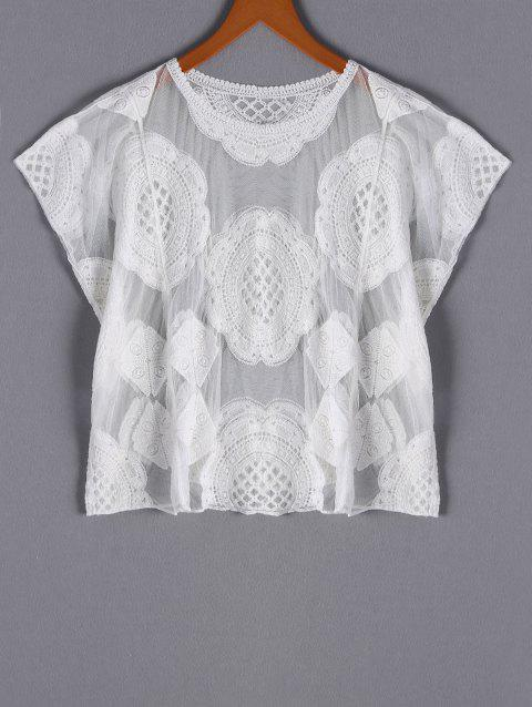 Stylish Women's Scoop Neck Loose-Fitting Embroidered Mesh Top - WHITE ONE SIZE(FIT SIZE XS TO M)