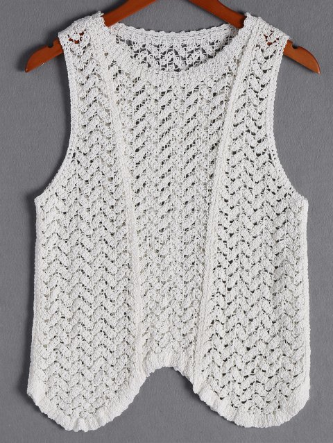 Casual Women's Scoop Neck Weave Asymmetric Top - WHITE ONE SIZE(FIT SIZE XS TO M)