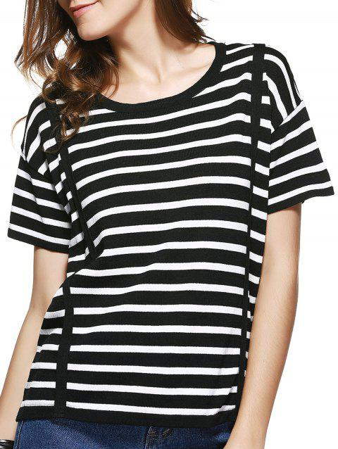 Femmes Chic  's Jewel Neck Striped manches courtes T-shirt - Bande ONE SIZE(FIT SIZE XS TO M)