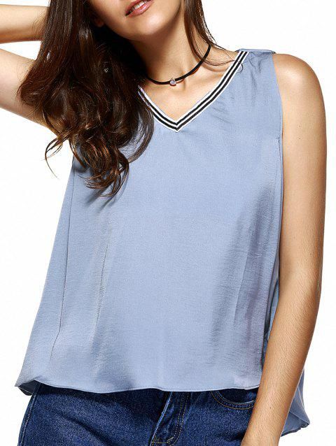 Sweet V-Neck Patchwork Asymmetric Tank Top For Women - LIGHT BLUE ONE SIZE(FIT SIZE XS TO M)