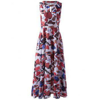 Abstract Printed Sleeveless Cut Out Pleated Maxi Dress