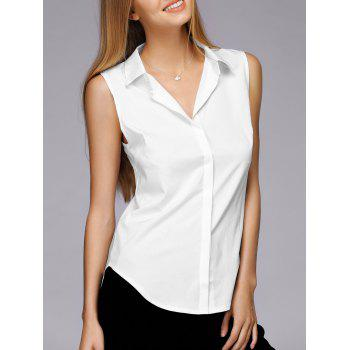 Simple Design Shirt Collar Sleeveless Solid Color Shirt For Women