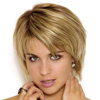 Stylish Straight Capless Blended Color Short Layered Cut Synthetic Wig For Women