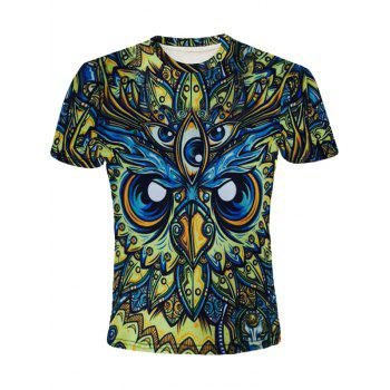 Round Neck 3D Abstract Eyes Printed Short Sleeve Men's T-Shirt