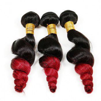 7A Virgin Hair Fashion Loose Wave 1 Pcs/Lot Brazilian Human Hair Weave For Women - RED/BLACK 10INCH