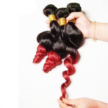7A Virgin Hair Fashion Loose Wave 1 Pcs/Lot Brazilian Human Hair Weave For Women - RED WITH BLACK 10INCH
