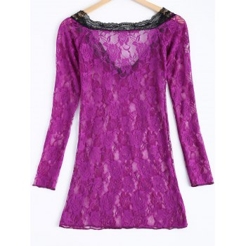 Sexy Lace Plunging Neck Spliced Long Sleeve Women's Babydoll - ONE SIZE ONE SIZE
