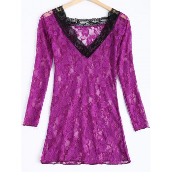 Sexy Lace Plunging Neck Spliced Long Sleeve Women's Babydoll - VIOLET ONE SIZE