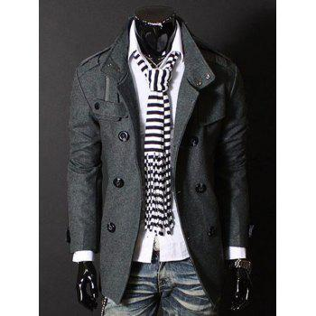 Stand Collar Double Breasted Long Sleeves Woolen Men's Windbreaker - GRAY M