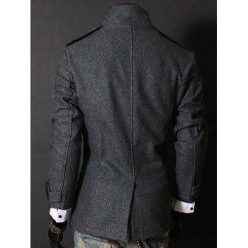 Stand Collar Double Breasted Long Sleeves Woolen Men's Windbreaker - GRAY GRAY