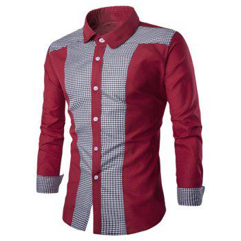 Elegant Plaid Spliced Color Block Turn-down Collar Long Sleeves Men's Shirt