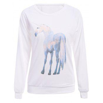 Endearing Starry Sky Printed Horse Shape Pullover Sweatshirt For Women - WHITE L