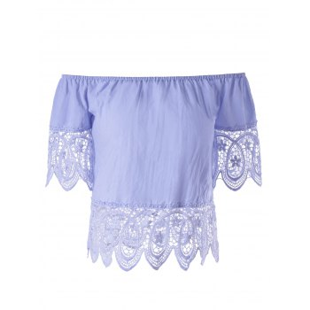 Stylish Women's Off The Shoulder Lace Splice Crop Top