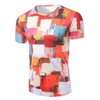Men's Fashion Round Collar Color Block Painting T-Shirt