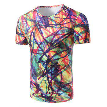 Men's Fashion Round Collar Colorful Graffiti T-Shirt