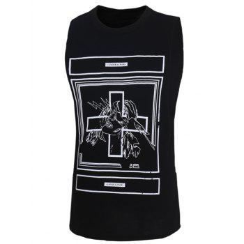 Men's Fashion Letters Printed Solid Color Tank Top