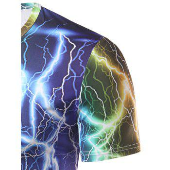 Men's Fashion Round Collar Lightning Printing T-Shirt - COLORFUL 2XL