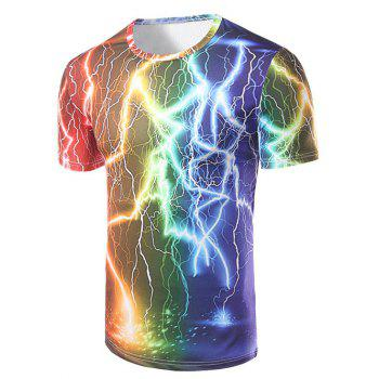 Men's Fashion Round Collar Lightning Printing T-Shirt