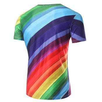 Men's Fashion Round Collar Rainbow Striped Printing T-Shirt - COLORFUL 2XL
