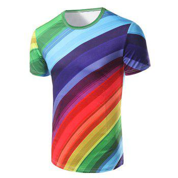Men's Fashion Round Collar Rainbow Striped Printing T-Shirt