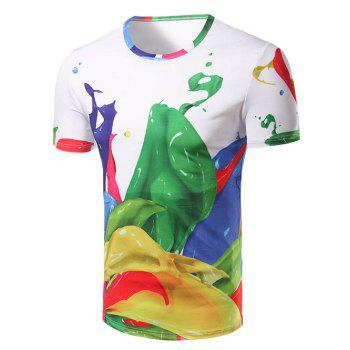 Men's Fashion Round Collar Color Printing T-Shirt