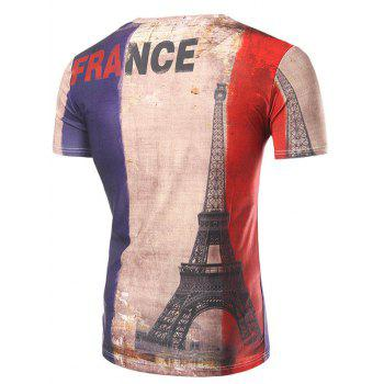Men's Casual Short Sleeve 3D Tower Printed T-Shirt - COLORMIX 2XL
