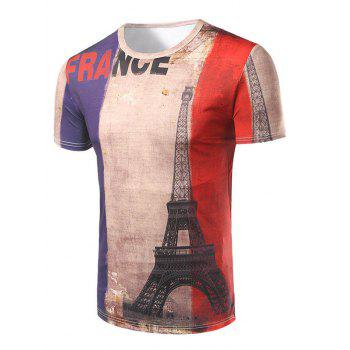 Men's Casual Short Sleeve 3D Tower Printed T-Shirt