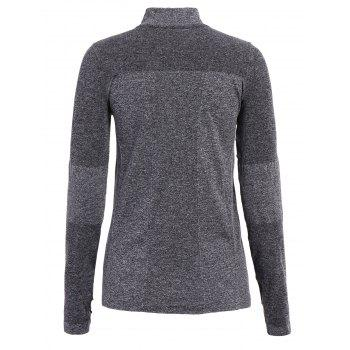 Trendy Long Sleeve Round Neck Sport T-Shirt For Women - DEEP GRAY DEEP GRAY