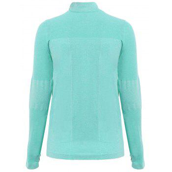 Trendy Long Sleeve Round Neck Sport T-Shirt For Women - GREEN GREEN
